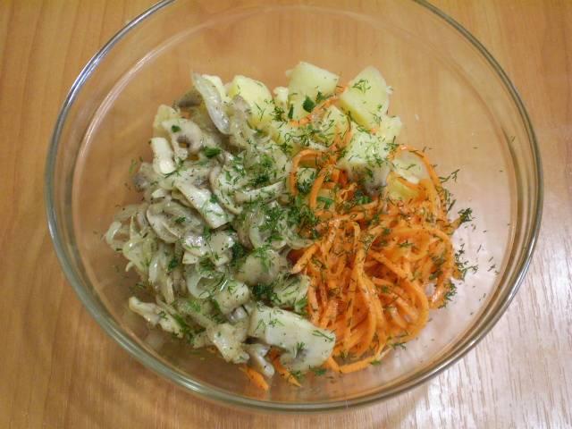 Салат с морковкой и грибами - пошаговый рецепт с фото на