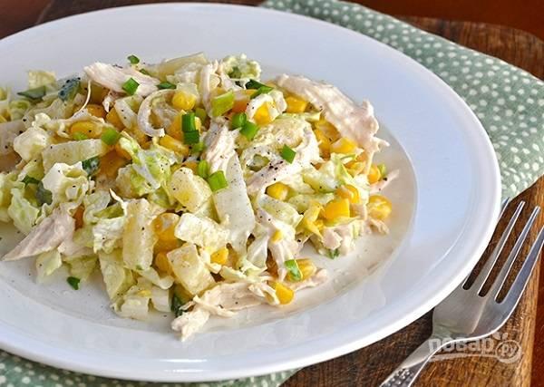 пекинская капуста кукуруза курица салат