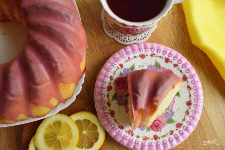 Лимонный кекс с глазурью