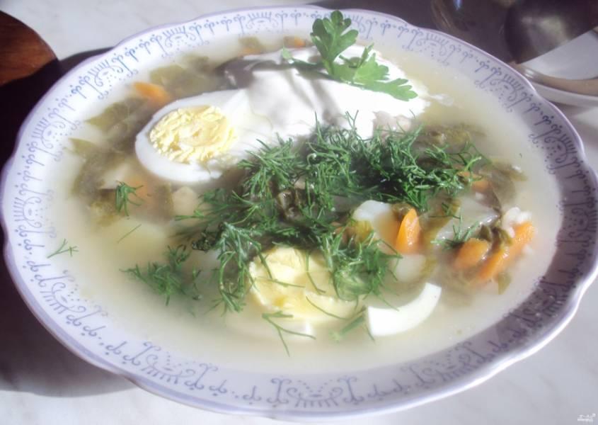 Cуп из щавеля с рисом - пошаговый рецепт