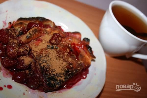 Пирог с вишней из слоеного дрожжевого теста
