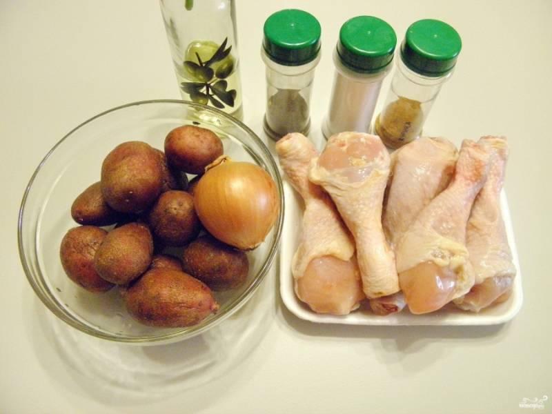 Подготовьте продукты. Ножки тщательно вымойте, снимите грубую желтую кожуру с сустава. Подготовьте специи и масло без запаха.