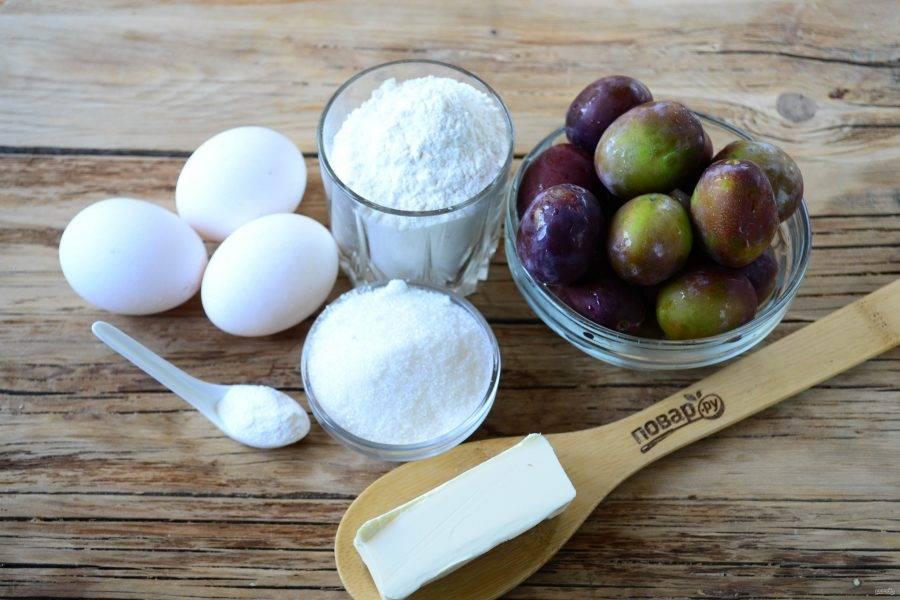 Сливовый пирог - Перевертыш - пошаговый рецепт с фото на