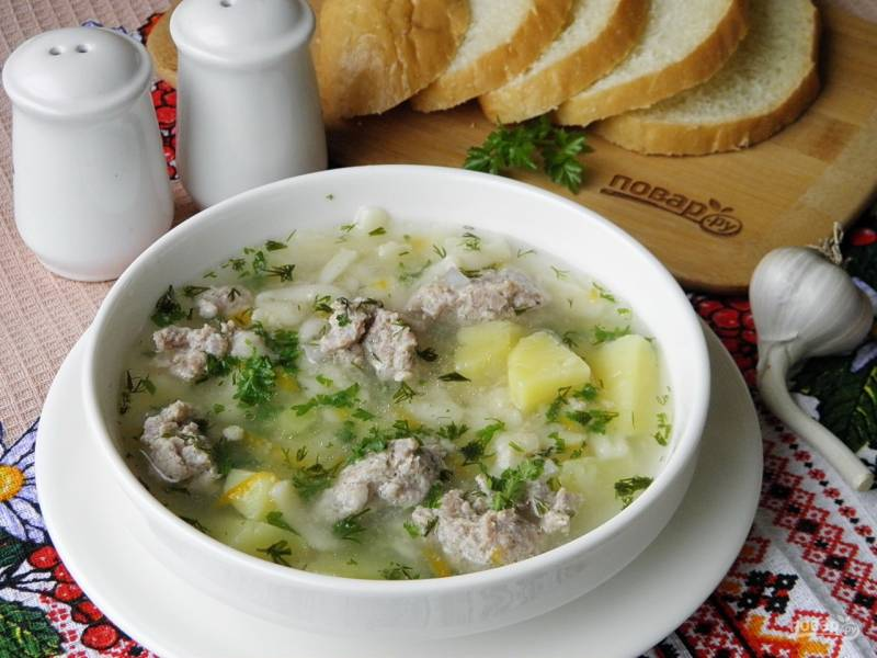 Суп с фрикадельками (ленивый)