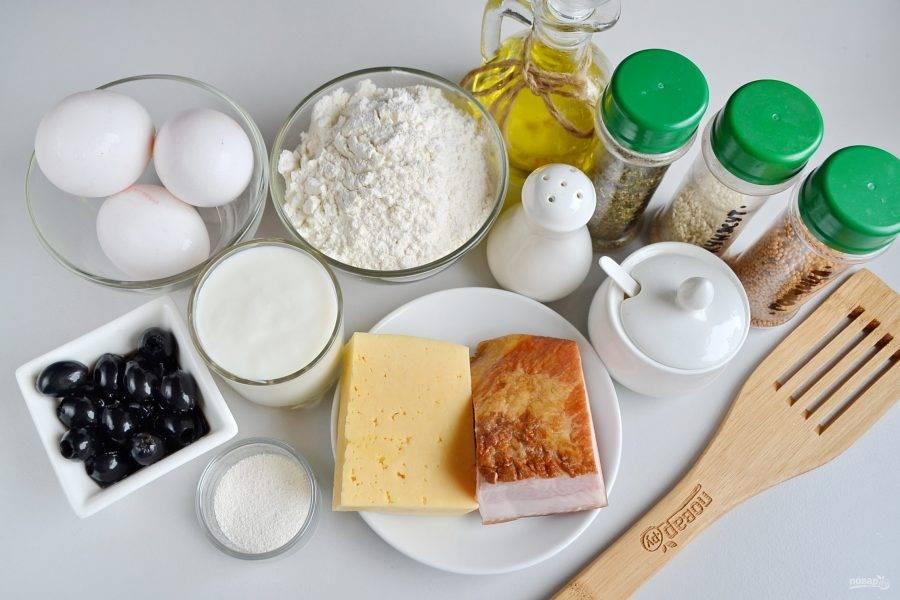 Закусочный кекс с беконом и маслинами - пошаговый рецепт с фото на