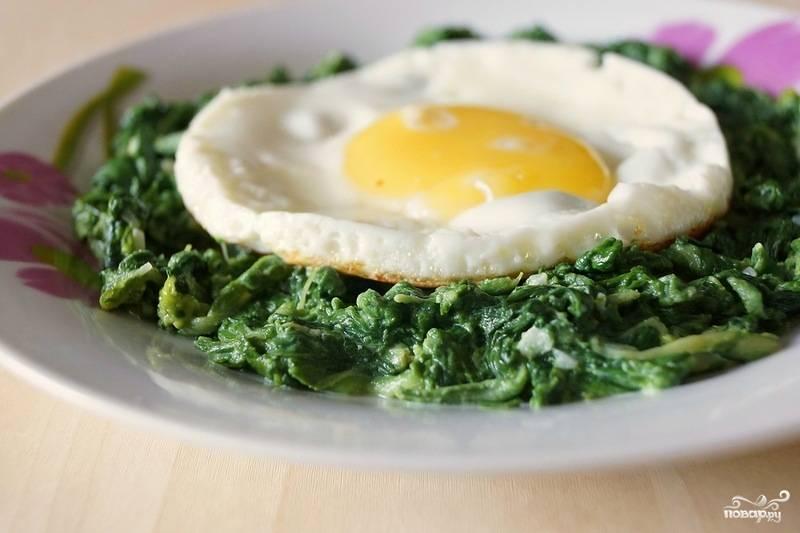 Рецепт шпината с яйцом с фото