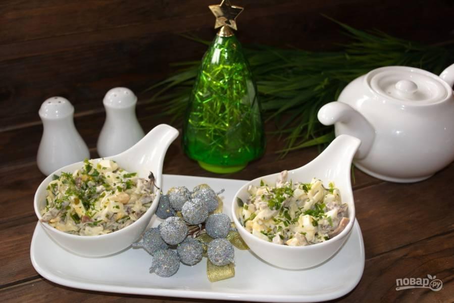 Салат с языком и шампиньонами