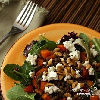 Салат с чечевицей, сквошем и козьим сыром - пошаговый рецепт с фото на