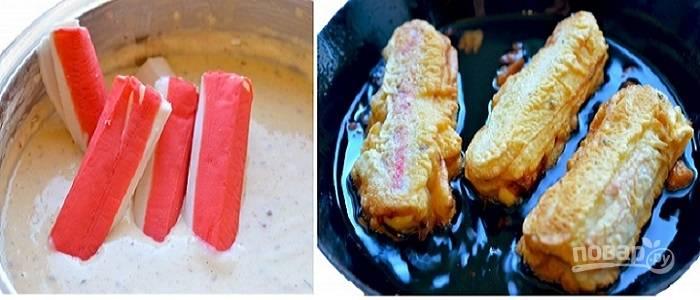 Крабовые палочки в кляре с сыром - пошаговый рецепт с фото на