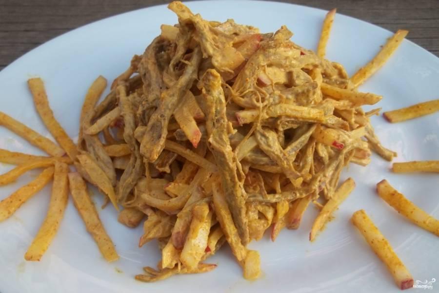 Салат из говядины и редиса