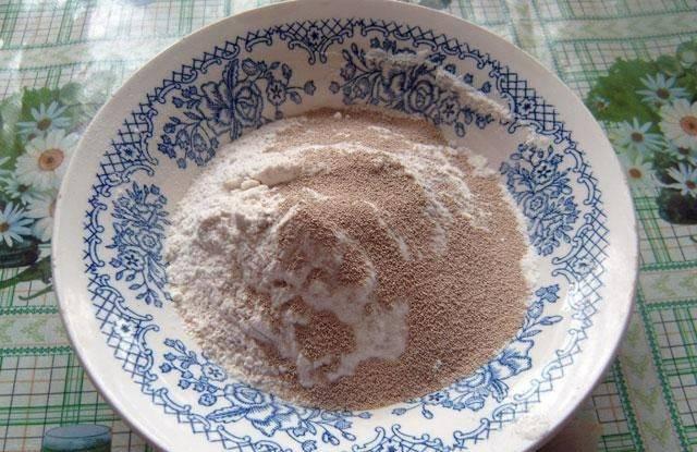 2. Муку смешаем с дрожжами, и добавим в жидкую смесь. Помещаем в теплое место, чтобы тесто подошло.