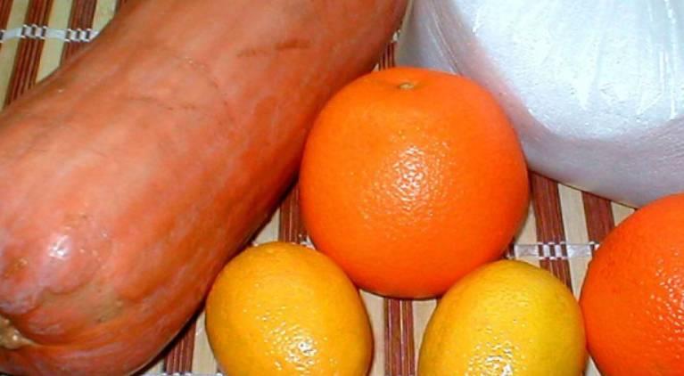 Тщательно промываем тыкву, лимоны и апельсины.