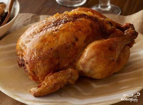 Фаршированная курица рисом с черносливом
