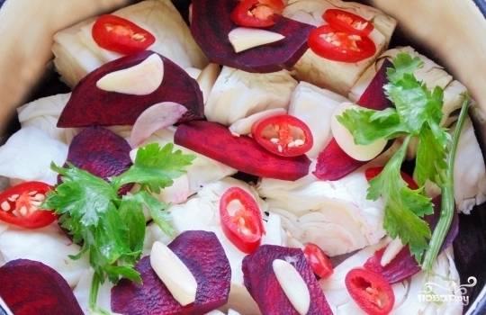 Капуста, маринованная по-грузински со свеклой - пошаговый рецепт