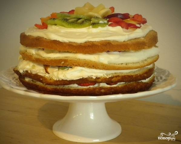 Бисквитно-фруктовый торт - пошаговый рецепт