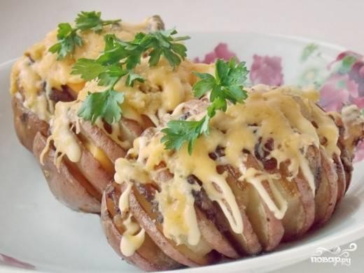 Картошка-гармошка с салом - пошаговый рецепт