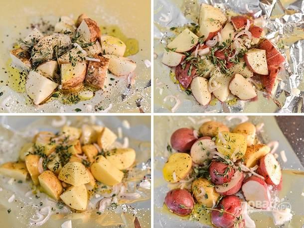 1. Вымойте как следует и нарежьте картофель. Выложите на 4 листа фольги. Добавьте оливковое масло, тимьян, измельченный шалот, соль, перец и сок лимона. Аккуратно перемешайте.