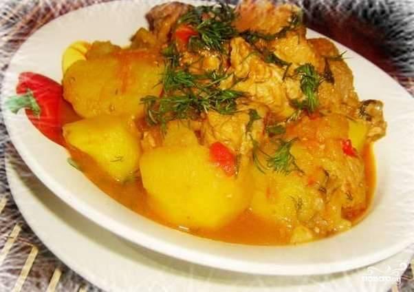 Рецепт мясо тушёное с картошкой с фото пошагово
