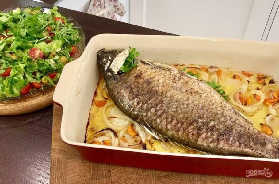 Ужин на всю семью (рыба с салатом) - пошаговый рецепт