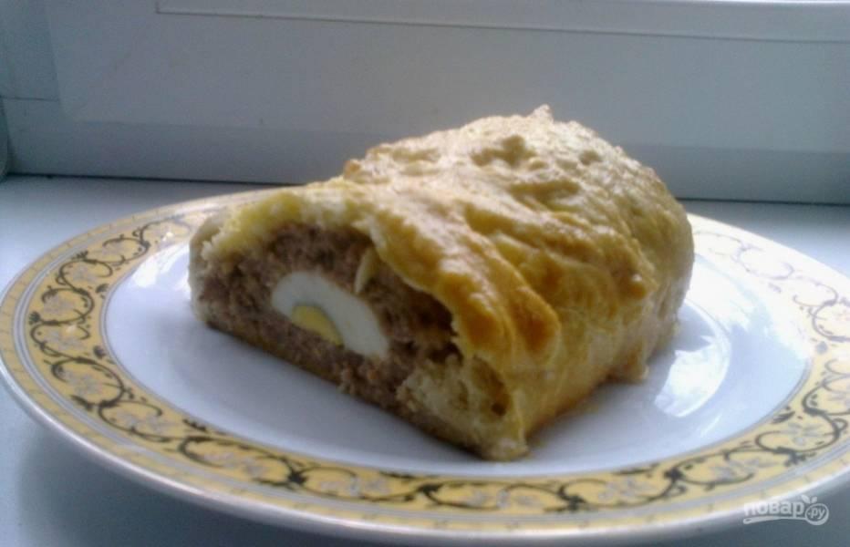 Мясной пирог из слоеного теста - пошаговый рецепт