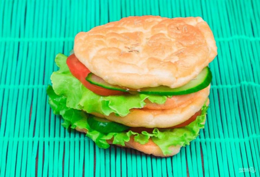 Белковый бургер с овощами - пошаговый рецепт