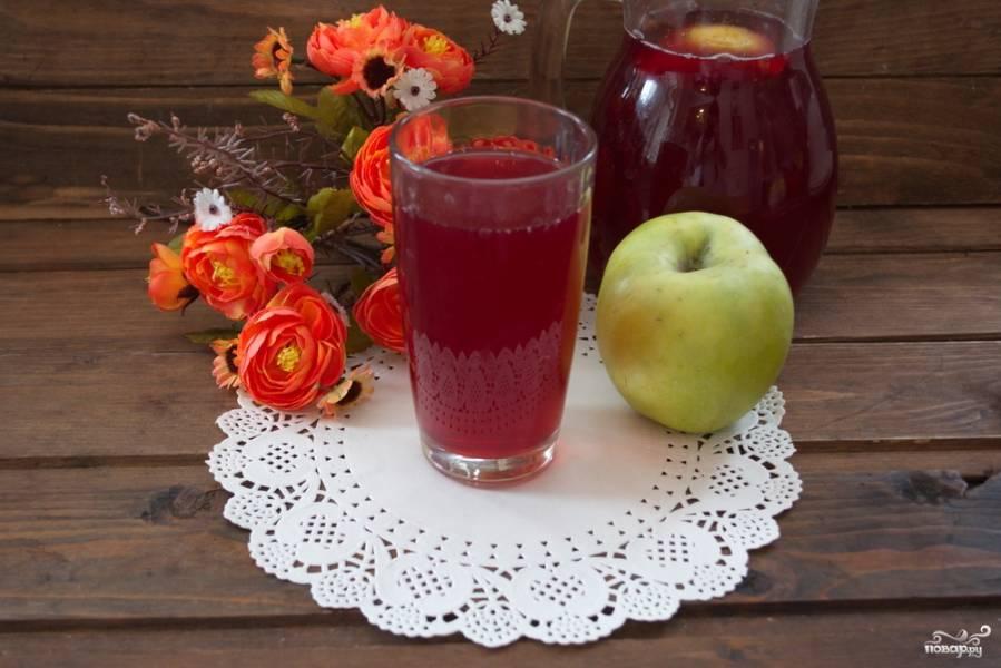 Компот из вишни с яблоками