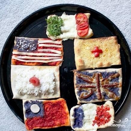 Пицца в виде флагов - пошаговый рецепт с фото на