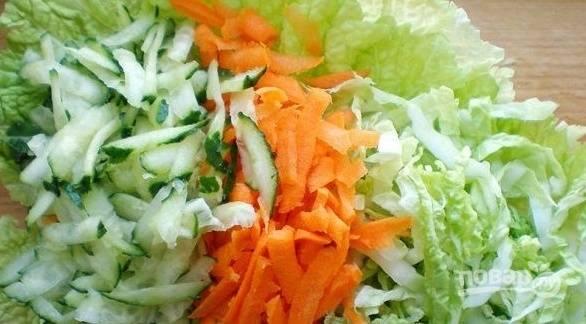 Салат пекинская капуста мясо огурец