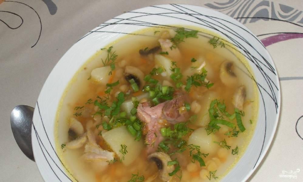 Гороховый суп с грибами рецепт с фото