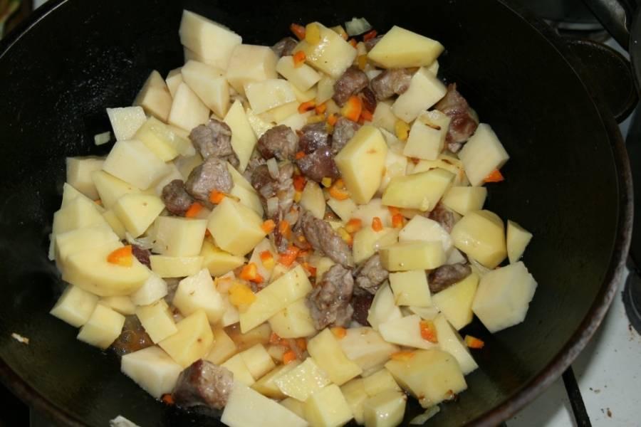 4. Теперь добавляем картофель и немного воды или бульона. Солим по вкусу, и тушим почти до полной готовности картофеля под крышкой.