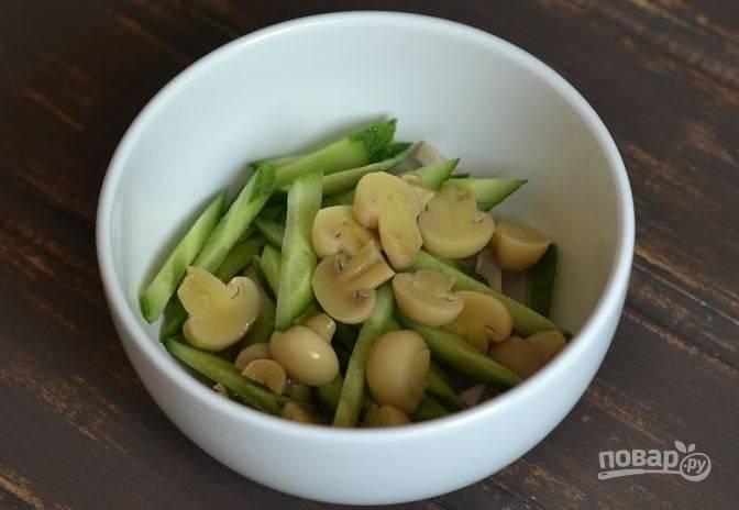 Салат с шампиньонами и огурцами - пошаговый рецепт с фото на
