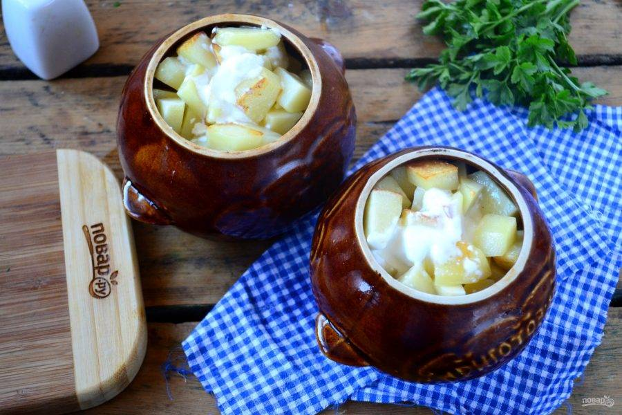 Смешайте сметану с бульоном, еще немного присолите при необходимости, залейте полученной жидкостью горшочки примерно до половины.