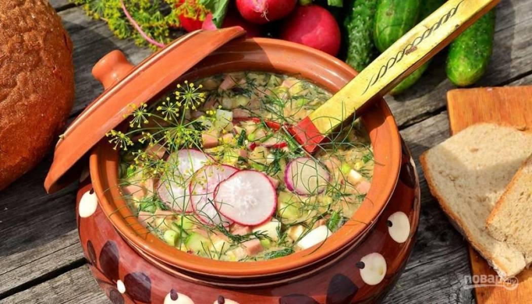 Окрошка классическая с колбасой на квасе - пошаговый рецепт