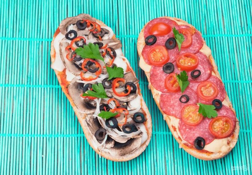 Ленивая пицца с колбасой и грибами