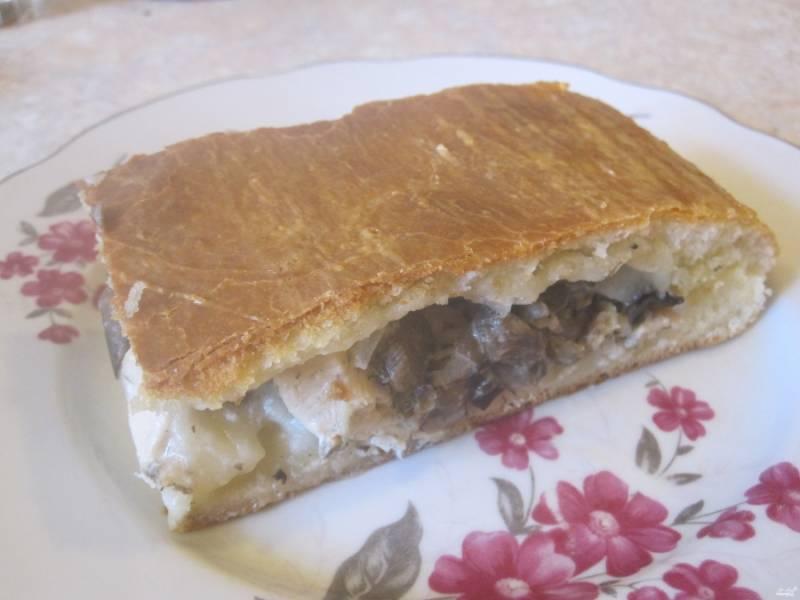 Дрожжевой пирог с курицей и грибами - пошаговый рецепт