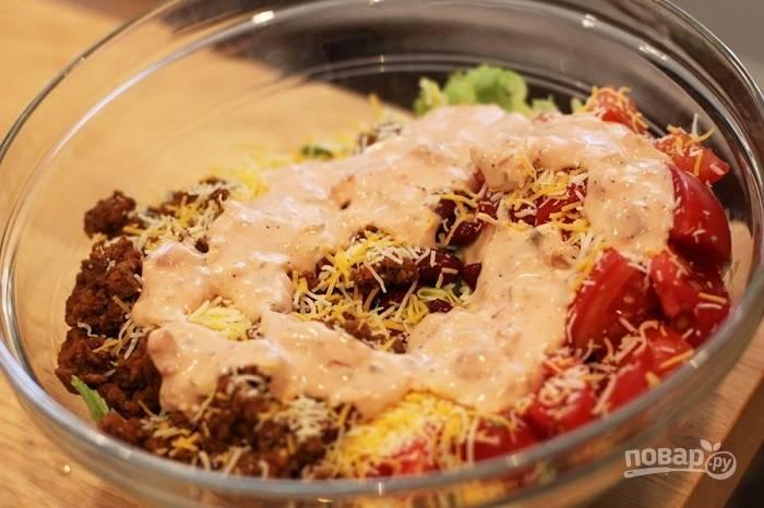 Салат с мясом и фасолью