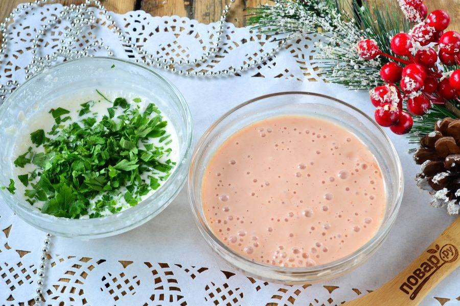 Двухцветное заливное с ветчиной и маринованными огурцами - пошаговый рецепт