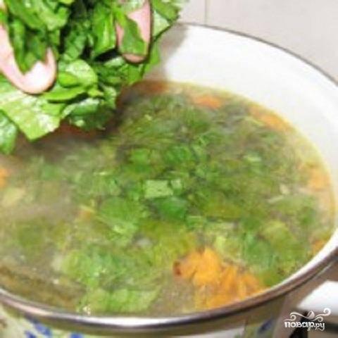 4.Картофель почти сварился. Добавить жареные овощи, и положить нарезанный щавель. Добавить необходимые приправы и проварить пару минут. Щи готовы. Подавая на стол, в тарелку кладут вареные яйца и сметану.