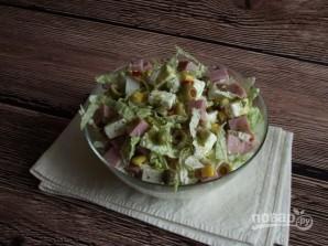 Салат с пекинской капустой и ветчиной - фото шаг 6