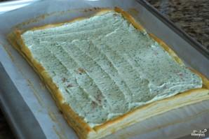 Пирог из слоеного теста с помидорами и базиликом - фото шаг 14