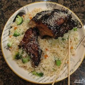 Рёбрышки по-китайски с жареным рисом - фото шаг 8