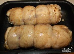 Куриный рулет с грибами и перцем - фото шаг 5