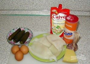 Салат из кальмаров с соленым огурцом - фото шаг 1