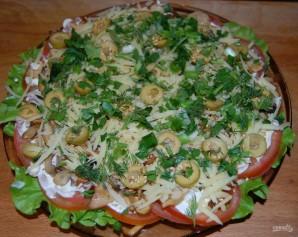 Слоеный салат с шампиньонами - фото шаг 8