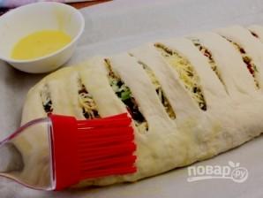 Пирог с адыгейским сыром из слоеного теста - фото шаг 7