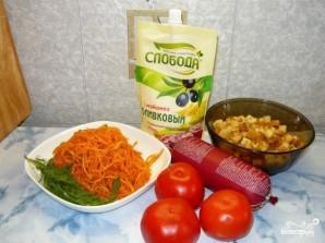 Салат с корейской морковью и сухариками - фото шаг 1