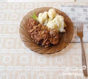 Нежная печень с цветной капустой - фото шаг 5