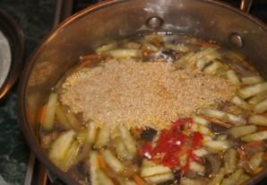 Суп с баклажанами и грибами   - фото шаг 9