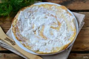 Торт из яичных блинов с куриной начинкой - фото шаг 7