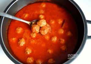 Тефтельки из говяжьего фарша с сыром в томатном соусе - фото шаг 6
